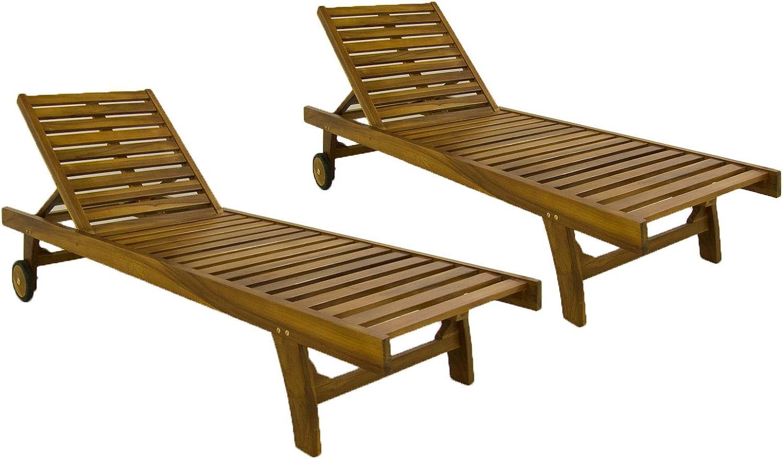 Pack 2 tumbonas para jardín con Ruedas, Reclinable, Madera Teca Grado A, Tamaño: 65x200x35 cm, Tratamiento al Agua aplicado