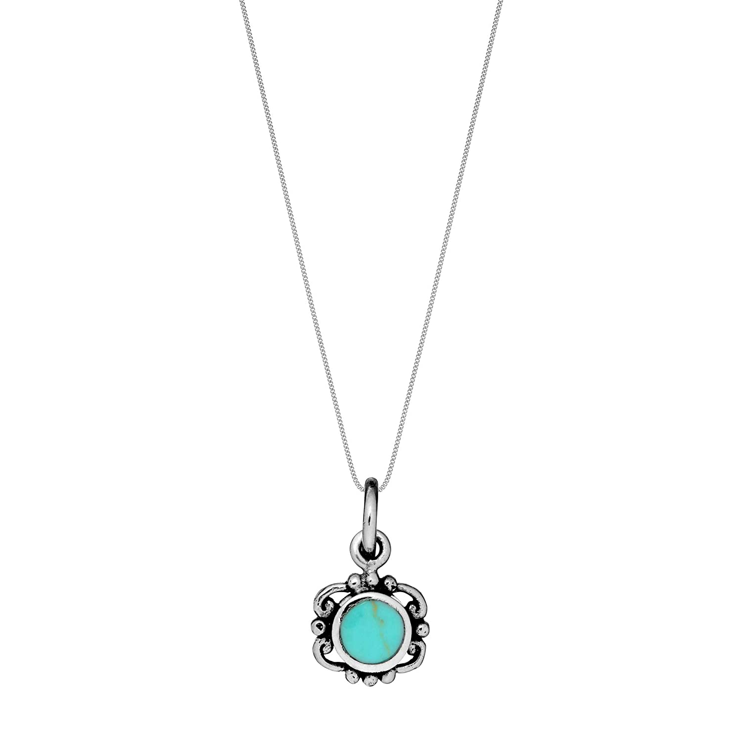 18 81stgeneration Womens .925 Sterling Silver Simulated Turquoise Filigree Vintage Style Pendant Necklace