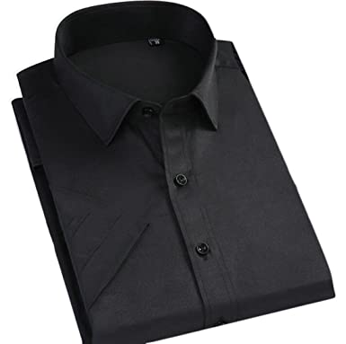 78a2900cc Pandapang Men Short Sleeve Solid Color Formal Classic Button Down Casual  Shirts Black XXS
