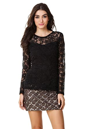 d92a82b88b6cb TEXCO Black Sheer Lace Floral Pattern Full Sleeve Women Tops  Amazon ...