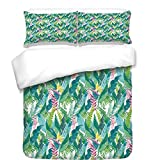 iPrint Duvet Cover Set,Watercolor,Exotic Jungles of Hawaii Inspired Fresh Green Leaves Tropical Plants Art,Green Pink White,Best Bedding Gifts for Family Or Friends