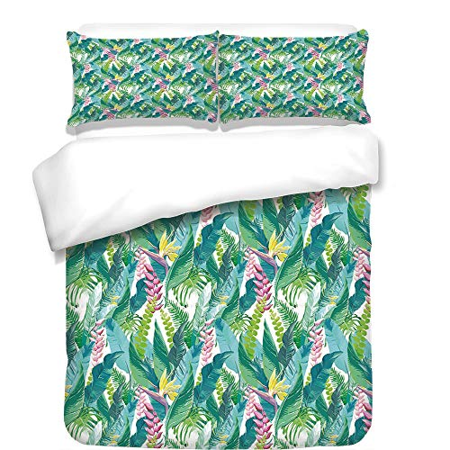iPrint Duvet Cover Set,Watercolor,Exotic Jungles of Hawaii Inspired Fresh Green Leaves Tropical Plants Art,Green Pink White,Best Bedding Gifts for Family Or Friends by iPrint
