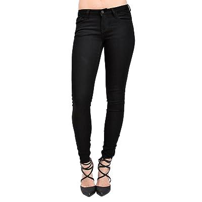 KAN CAN Women's Mid Rise Skinny Jeans 11 Black KC5003BK