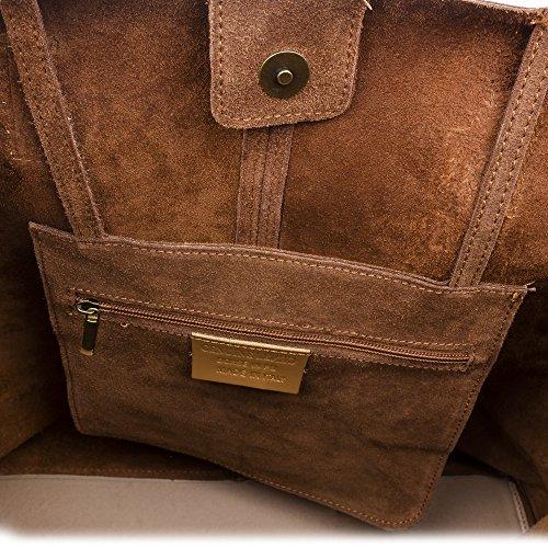 FIRENZE ARTEGIANI.Bolso shopping bag de mujer piel auténtica.Bolso mujer cuero genuino,piel acabado Gamuza. Asas en piel Dollaro. MADE IN ITALY. VERA PELLE ITALIANA. 50x39x16 cm. Color: MARRON MARRON