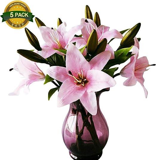 38 Cm-Falso Flores Lirios Paquete De 3 tallos de flores artificiales Rojo Calla Lirio