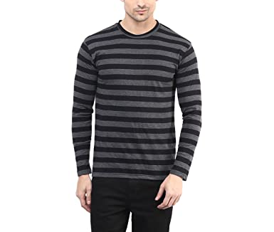 Hypernation Black and Grey Color Round Neck T-Shirts for Men T-Shirts at amazon