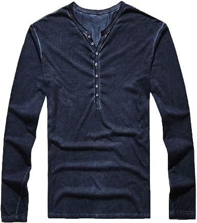Seringling Camiseta Manga Larga Hombre Casual Moda Personalidad Polos Cuello de Pico Desgastado Mezcla de algodón Suave y cómodo Negro, Azul Marino, Verde, Vino: Amazon.es: Ropa y accesorios