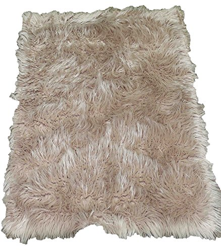 Furry Fluffy Fuzzy Super Soft Solid Faux Fur Sheepskin Lambskin Sheep Hide Animal Skin Livingroom Bedroom Nursery Room Floor Rug Carpet Area Rug Beige Tan Cream Neutral 6x9 Large (Fur Shaggy Beige)