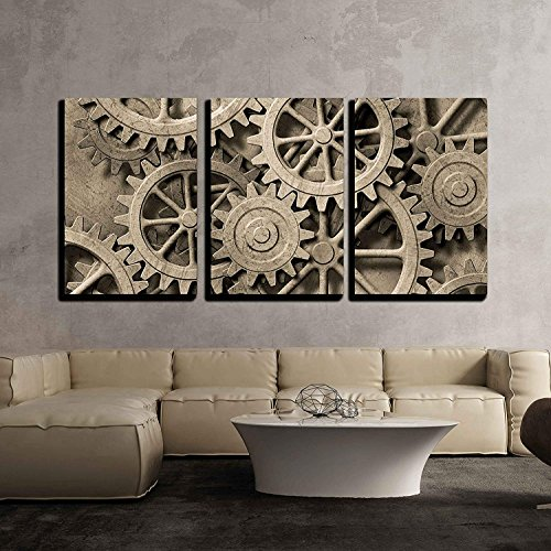 a Mechanical Background with Gears and Cogs x3 Panels