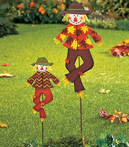 Set Of 2 Metal Whimsical Cute Autumn Harvest Scarecrow Outdoor Yard Garden  Stake Decor
