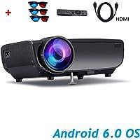 ILYO WiFi Android 6.0 Projector, 1080P HD Bluetooth El Proyector De Cine En Casa Admite La Interfaz De 64G 5000 Lúmenes Extendida AV/USB/Tarjeta SD/HDMI Family Party Games Entretenimiento