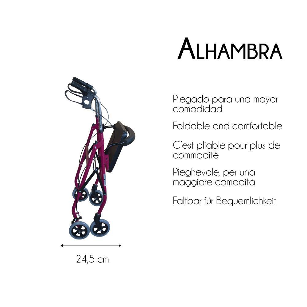 Mobiclinic, Modelo Alhambra, Andador para mayores, minusválidos, adultos o ancianos, de aluminio, ligero, plegable, con asiento y 4 ruedas, Color ...