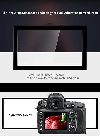 DolDer LCD Screen Glas Displayschutzfolie mit Sonnenschutz//Sonnenschein Kapuze Selbstklebendes geh/ärtetes Glas Protektor kompatibel mit f/ür Canon EOS 5D Mark IV einweg Made by Larmor Metallrahmen