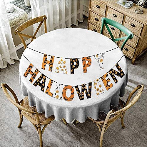 DONEECKL Wrinkle Resistant Tablecloth Halloween Happy Halloween Banner Greetings Pumpkins Skull Cross Bones Bats Pennant Excellent Durability D51 Orange Black White]()