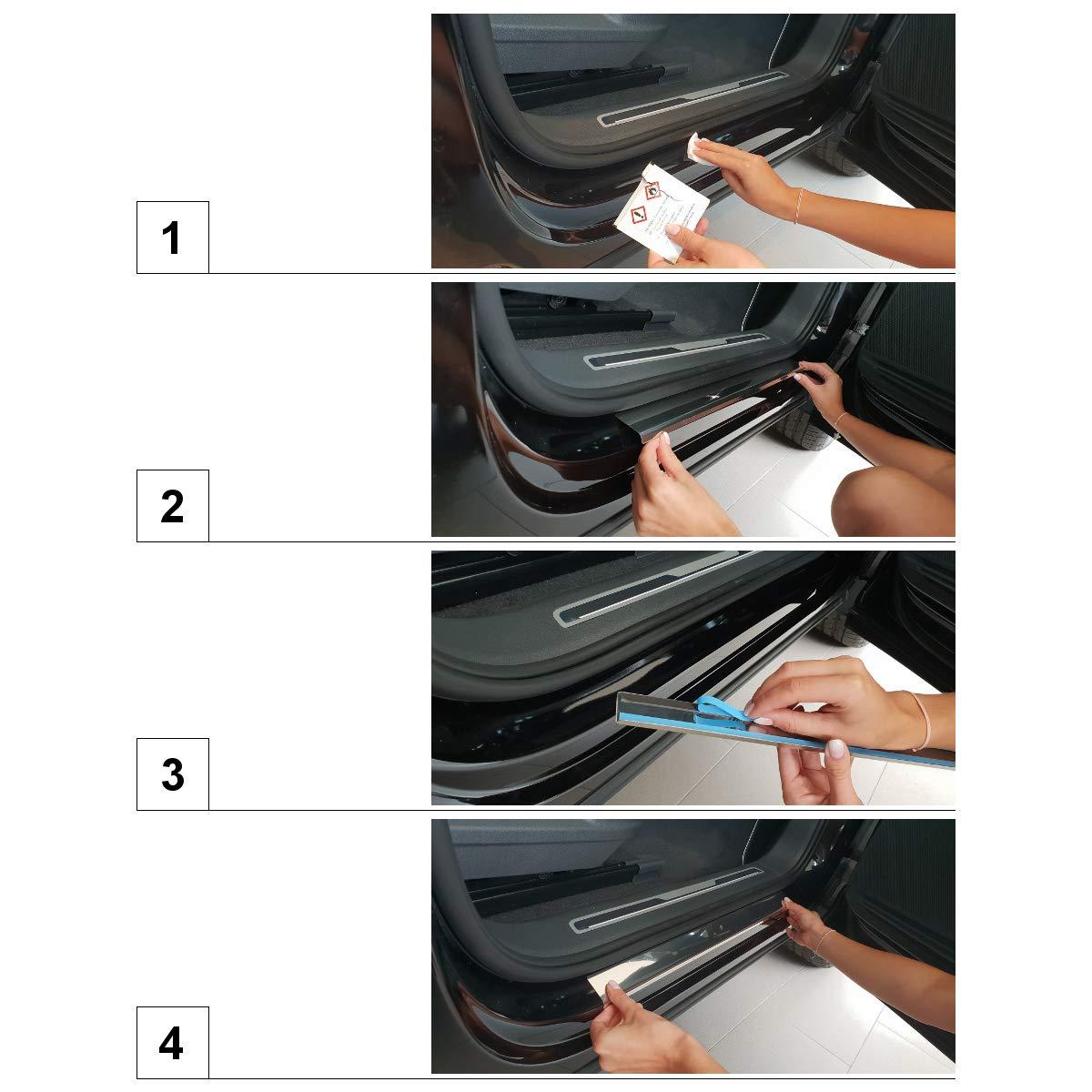 feuille de carbone Jeu seuils de porte voiture en acier 5902538695282 4 pcs