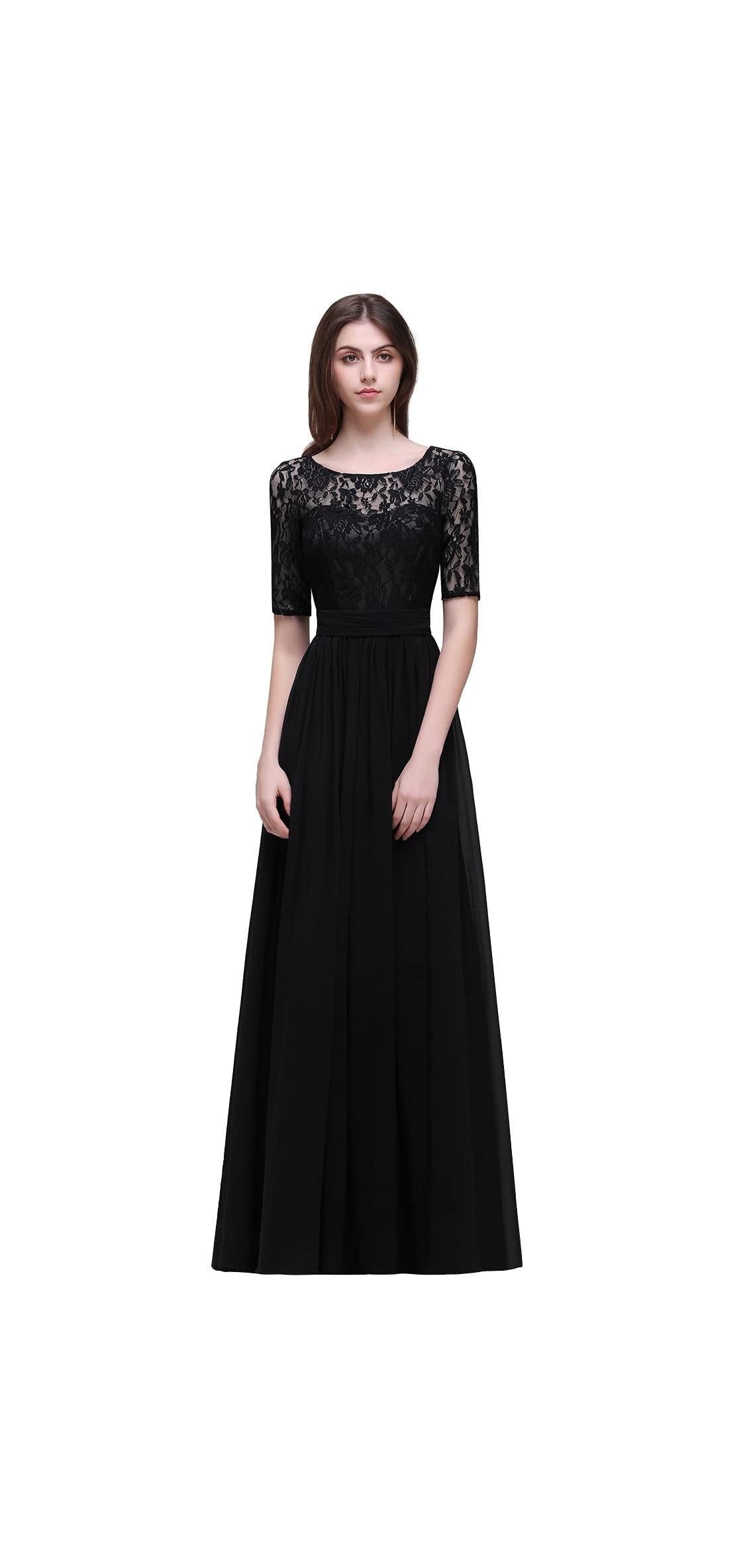 Women Lace Chiffon Evening Cocktail Dresses Sleeves For