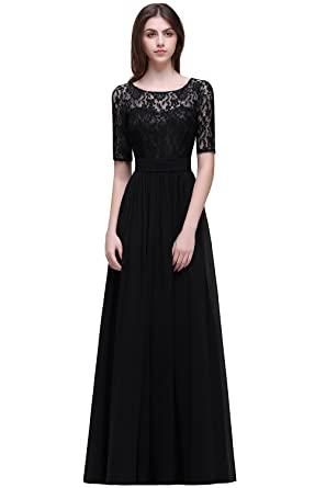 Girls Chiffon Prom Homecoming Dresses 2017 with Long Sleeves,Black,Size 2
