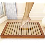 Bamboo Wood Bathroom Bath Mat - Heavy Duty Natural or Shower Floor Foot Rug with Elevated Design for Water Evaporation and Non Slip Rubber Feet for Indoor Outdoor Use - SereneLife SLFBMT10