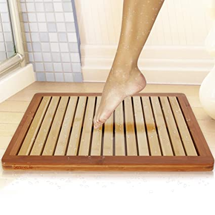 Bamboo Wood Bathroom Bath Mat   Heavy Duty Natural Or Shower Floor Foot Rug  With Elevated
