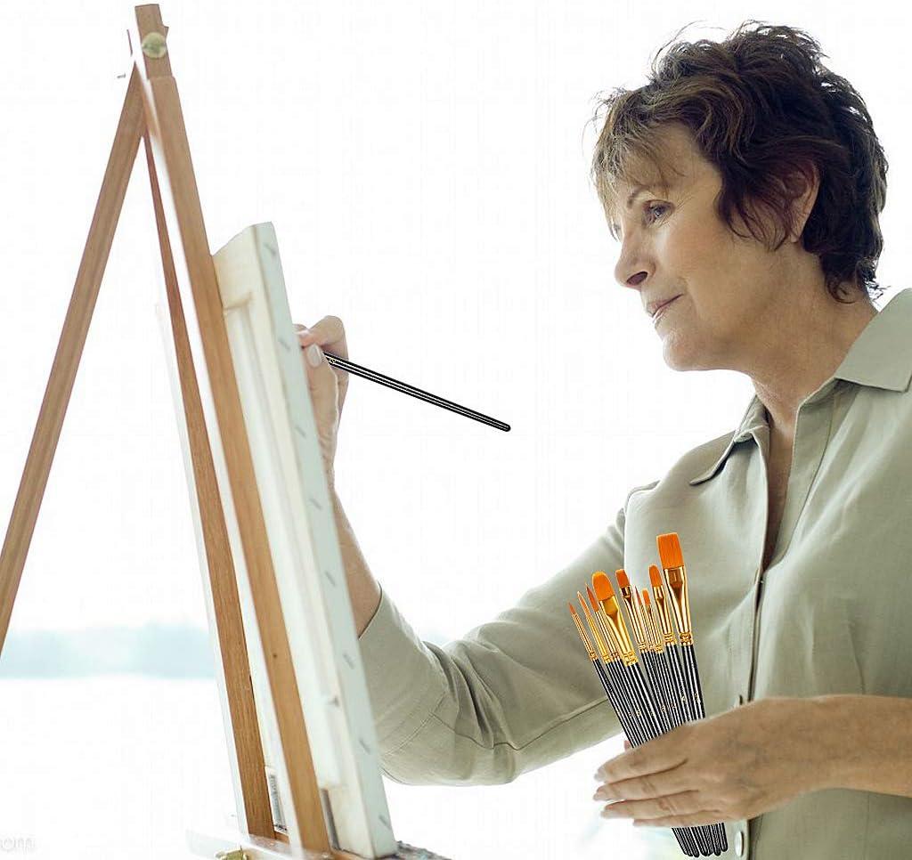 peinture /à la gouache Noir peinture /à lhuile Lot de 10 pinceaux de peinture en nylon pour peinture acrylique peinture /à laquarelle
