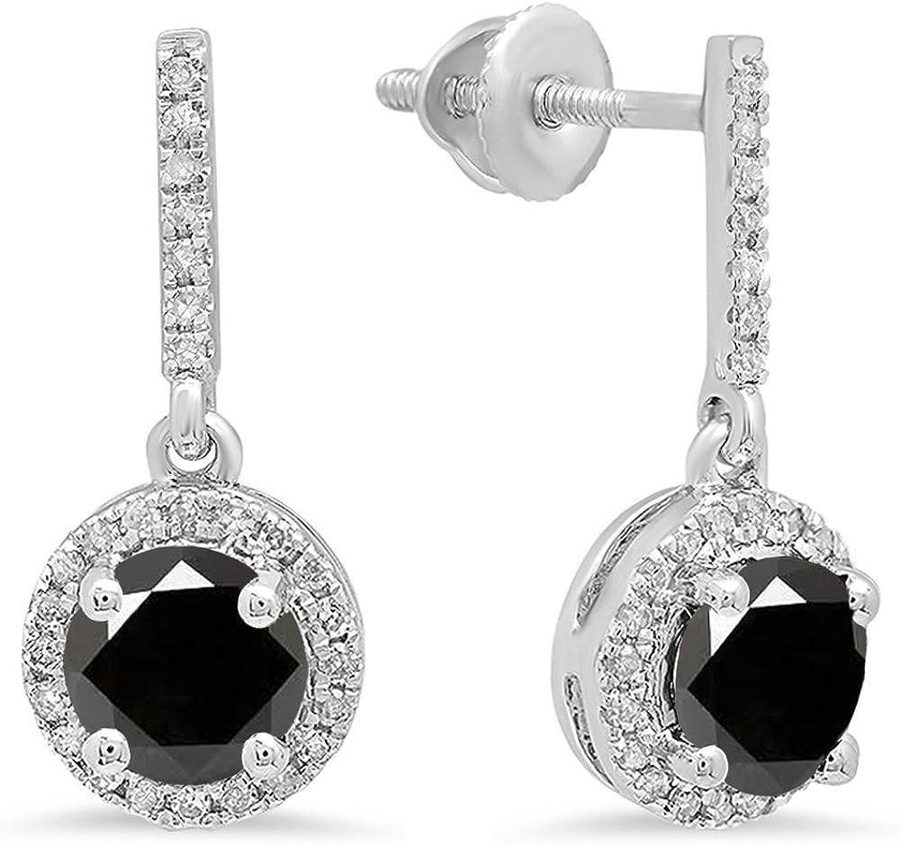 Pendientes colgantes de oro blanco de 18 quilates de 6 mm de cada piedra redonda y diamante blanco para mujer