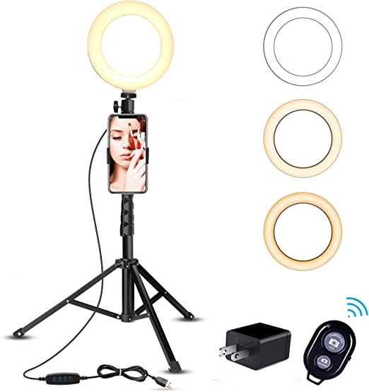 """6.2/"""" LED Ring Light with Stand for Phone Selfie Makeup Youtube Tiktok Video Live"""