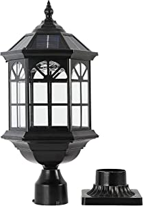 GYDZ Solar Post Light Fixture Outdoor Solar Pier Light, Solar Lamp Post Light for Garden, Patio, Vintage Design Die Cast Aluminum Post Light in Oil-Rubbed Black with Clear Glass, Hard Wired Available