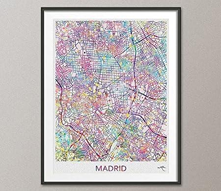 Madrid mapa de la ciudad impresión Watercolor Art Print Wall Art España Madrid calle de mapa Wanderlust decoración colgar en la pared mapa de Madrid [no 810], M, 23.44 x 33.10: Amazon.es: Hogar