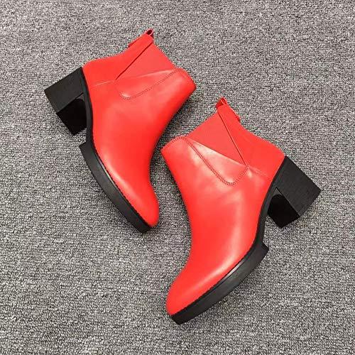 Sencilla Martin Mujer Cuero Elástica E Women's De Alto Casual Zapatos Boots Otoño Tamaño Código Mujer Tacón Real Red Botas Banda Gruesas Hoesczs Invierno x7q4w0vqR
