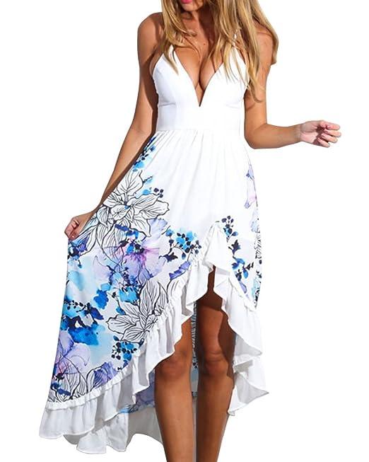 Mujer Elegantes Cuello V Bohemios Maxi Vestido Cóctel Vestido Fiesta Playa Blanco L