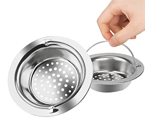 Platinum Kitchen Platinum Stainless Steel Sink Drain Strainer With Handle  Large Wide Rim 4.3u0026quot; Diameter