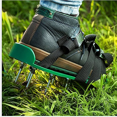 Lawn Aerator Shoes, Aerating Lawn Shoes With 3 Straps and Heavy Duty Metal Buckle Spiked Sandals Shoes Garden Tool for Lawn or Yard (Green) by RTWAY