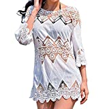 Bronkey Women's Summer Beach Wear Lace Floral Crochet Bikini Cover up Dress Swimwear