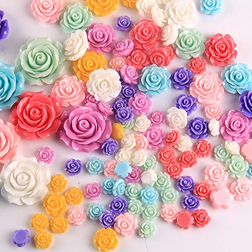 (50Pcs DIY Handcrafted Mixed Resin Rose Flowers Flat Base Resin Flower Jewelry Beads Embellishments 15mm)