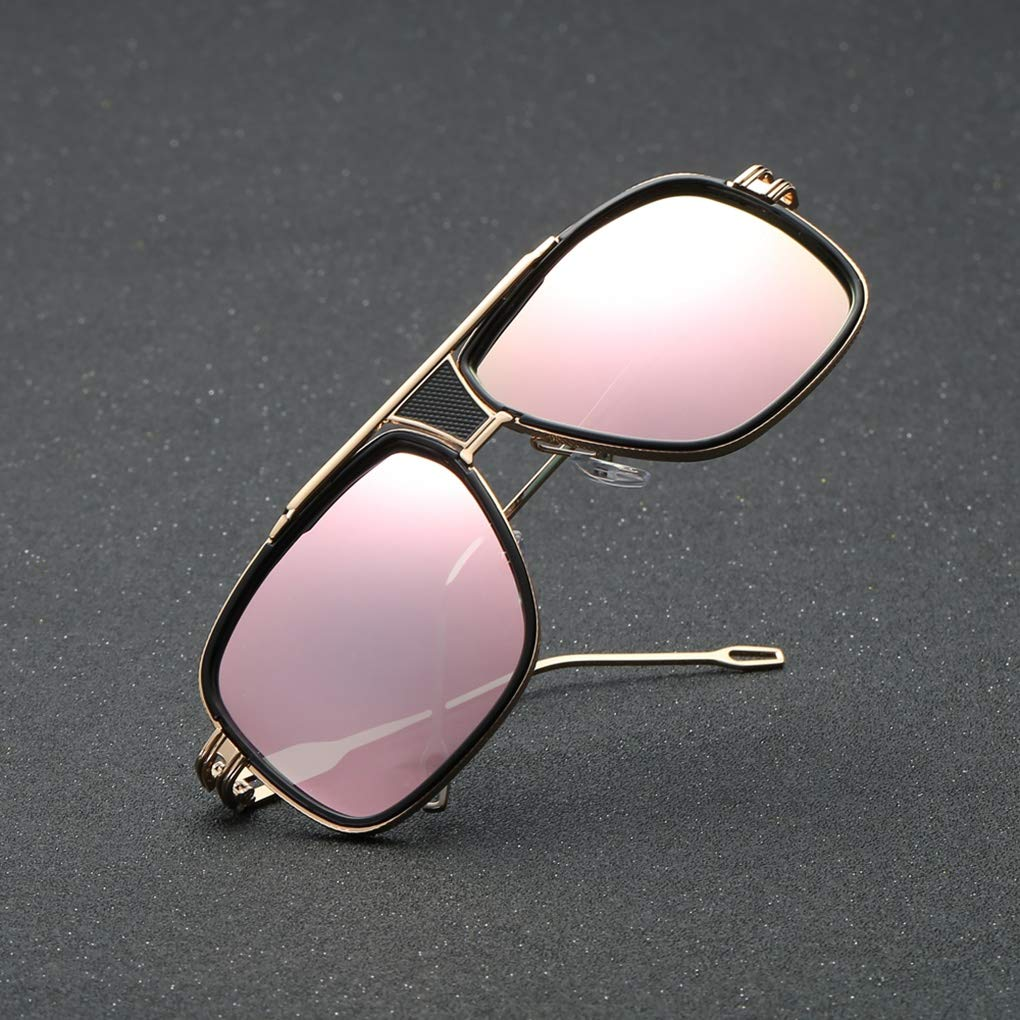 Junecat Uomo Occhiali da Sole Quadrati della Struttura del Metallo Occhiali da Sole Maschile Guida Pesca Sport Protezione UV Eyewear