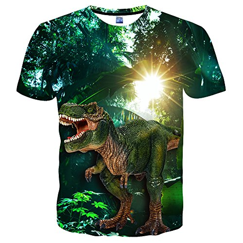 Neemandy Unisex 3D Anime Dinosaur Realistic Graphics Cool Patern Cewneck tee Youth & Adult, X-Large