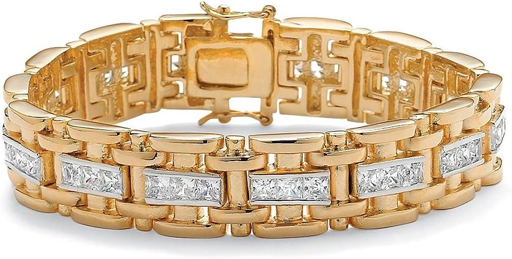 "Palm Beach Jewelry Men's 14K Yellow Gold-Plated Bar Link Bracelet (14mm), Box Clasp, Princess Cut Cubic Zirconia, 8.25"""