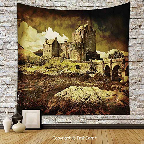 FashSam Tapestry Wall Blanket Wall Decor Old Scottish Castle in Vintage Style European Middle Age Culture Heritage Town Photo Home Decorations for Bedroom(W59xL78)