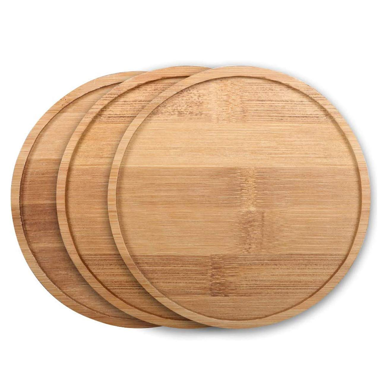 SQOWL 2 Pack 5.7 Inch Bamboo Tray Round Plant Saucer Plant Pot Tray for Indoor and Outdoor Plants