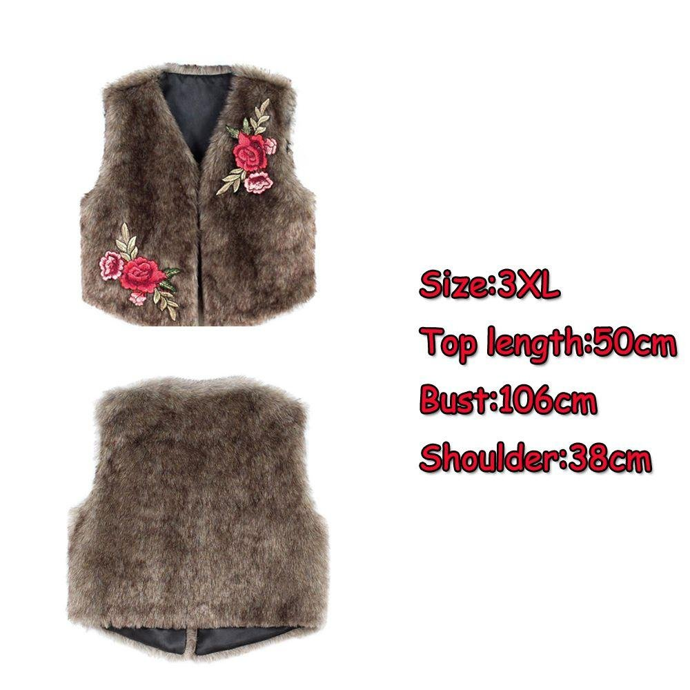 Boufanu Women Outwear Winter Imitation Fur Vest Faux Rabbit Fur Short Jacket Embroidery by Boufanu