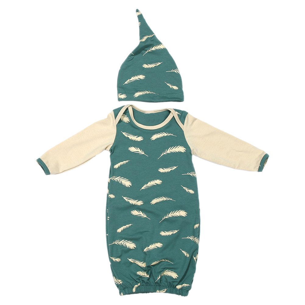Domybest Newborn Baby Cotton Sleeping Nightgown Anti-Kicking Slumber Sleepbags Sleeping Bag with Hat (0-3 M, Feather Print)