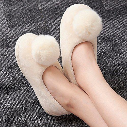 de Zapatillas de Color otoño de e antideslizante mano de algodón cálido Zapatos 5 Cómodo mes de opcional pantuflas invierno colores C grueso Bolsos B opcionales Aumentado mes tamaño con adqx7qwF8