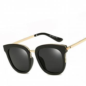Gafas de Sol Trend Personalizadas Retro Polarizado Polarizado Gafas , Negro Brillante Todo Gris