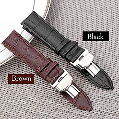 Amazon.com: Best Quality Hah 18-24mm Women Men Watch Band Strap Butterfly Pattern Deployant Clasp Buckle+Leather Watchband Correas de reloj: Kitchen & ...
