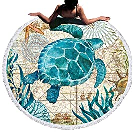 Flamingo and Ocean Animal Round Beach Towel with Tassels,Portable Lightweight Waterproof Sandproof Picnic Blanket Outdoor Blanket Gift Blanket,Adult Child Beach Blanket (Turtle, 150cm in diameter)