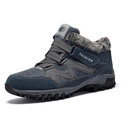 6b0a001e0b9da DZX Snow Boots Mens Womens/Fully Fur Lined Anti-Slip Leather Waterproof  Boots Work