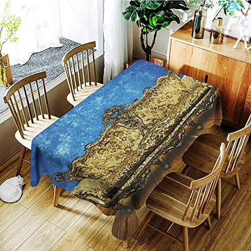 - XXANS Tablecloth for Kids/Childrens,Victorian,Victorian Sofa in Room Interior Wooden Floor Timber Panel Curve Aged,Table Cover for Kitchen Dinning Tabletop Decoratio,W54x72L Brown Gold Royal Blue