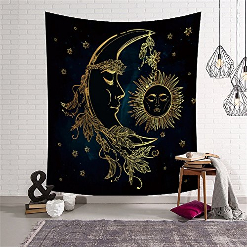 Psychedelic Celestial Sun and Moon Tapestry with Boho Feathers Alchemy Magic Decor Wall Hanging Hippie Celestial Energy Mystic Art Print for Bedroom Living Room Dorm Headboard Beach Towel HYC44-12-S