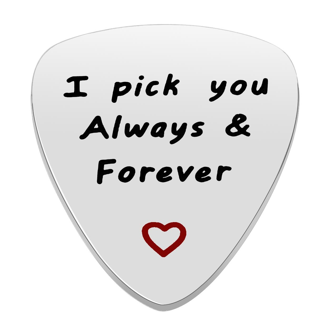 Men Women Guitar Pick I Pick You Always&Forever Music Gift Valentine Anniversary Wedding Stainless Steel lauhonmin JT0004BP-CA
