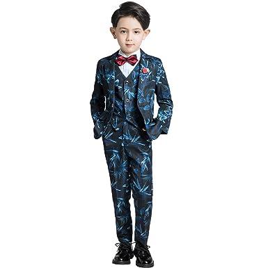 175d24af2183 Yuanlu 6 Piece Boy's Suits Slim Fit Kids Dress Tuxedos Size 2T Navy Blue